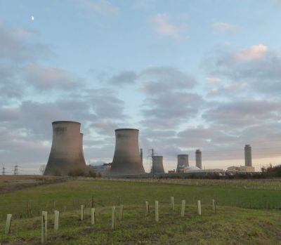 Didcot Power Station with a winter moon